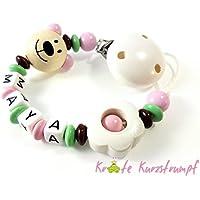 Schnullerkette mit Namen für Mädchen mit Teddy/Bär und Blume - rosa, mint, dunkelbraun, weiß