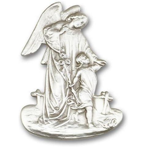 Icecarats Designer Di Gioielli In Argento Antico Angelo Custode Visiera Clip 2 X 1 1/2 Pollice - Angelo Visiera Clip