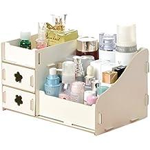 urijk Puerta Almacenamiento de Escritorio de Madera Organizador Armario Organizador para maquillaje maquillaje comestici Storage Box