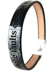 Area17 Gravur Lederarmband schwarz silber mit Clipverschluss - Wunschtext Gravur inklusive