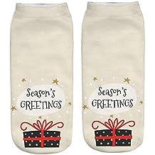 BHYDRY Mujer 3D de dibujos animados divertido de Navidad loco lindo increíble novedad imprimir tobillo calcetines