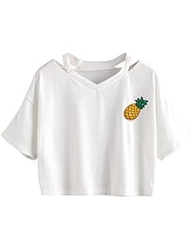 LuckyGirls Camisetas Mujer Originales Verano Manga Corta Piña Estampado Heuco Sexy Remeras Blusas Camisas