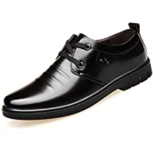 Botas para Hombre Zapatos de Ciudad Cuero de Negocios Encaje Cabeza Redonda Botas de Invierno de