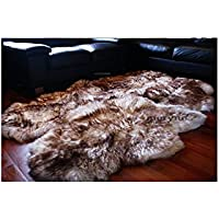 Meryno White brown quad 4 sheepskin rug carpet soft wool - x large