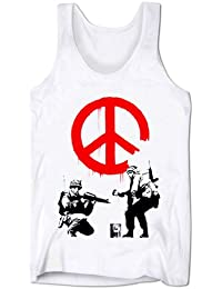 Mens Vests Workout Low Cut Vests Banksy Army Soldiers War Protest Holiday Clothes Festival Top