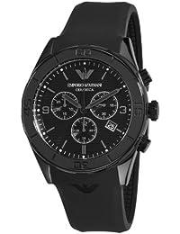 Emporio Armani AR1434 - Reloj cronógrafo de cuarzo para hombre con correa de caucho, color negro