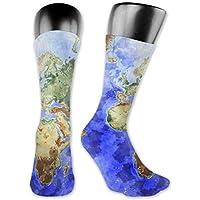 a927d3180e9 SDGSS High quality breathable socks Unisex Adults Teens Casual World Map  Ocean Sea Blue Crew Socks