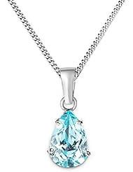 Miore Damen-Halskette Tropfen 375 Weißgold 1 Topas blau 45 cm MA9036N