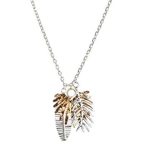 Silver Gold Triple Palm Leaf Pendant Necklace