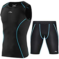 Fitness Athletic 2 Pieces Clothing Set Mens Quick Dry Clothing Set Sports Vest and Sports Shorts
