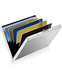 Nisun Rfid Blocking Metal Credit/Debit Card Holder Wallet With 6 Slots For Men & Women - Silver
