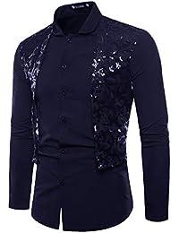 8403c3c14a camicia di pizzo - Blu / Uomo: Abbigliamento - Amazon.it