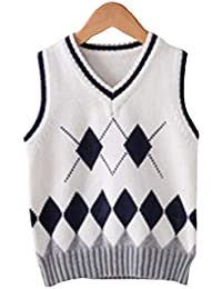 Kinder V-Ausschnitt Pullover Schule Stricken Weste Uniformen Baumwolle Weste  Jungen und Mädchen 4- 6593e45115