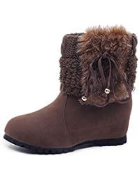 Minetom Mujer Invierno Moda Botines Conejo Pelaje Cuña Zapatos De Plataforma Calentar Botas De Nieve