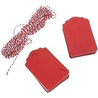 ULTNICE 100pcs Etiquetas de regalo colgantes etiqueta con 10M cáñamo de cuerda para la boda Craft Scrapbooking