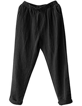 Pantalón Mujer de Ba Zha Hei, Pantalones Harem de Lino de Mujer Tallas Grandes Pantalones Sueltos de Baggy Casual...