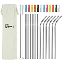 longzon Metal Straw, 12 Pack Stainless Steel Straws 8.5'' Eco Friendly Drinking Reusable Straw with Silicone Tips Cover & 2 Cleaning Brushes for Smoothie, Milkshake, Cocktail and Hot Drinks