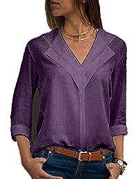 Camisetas de Manga Larga para Mujer Chiffon Solid Blusas para Mujer Camisetas Mujer Camisas Mujer Tops