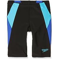Speedo Boys 'color bloque Jammer, negro/Amparo azul/turquesa, tamaño 22