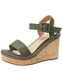 Sandali Estivi Donna con Zeppa — Elegante Sexy Moda Vintage con Fibbia Ad  Un Bottone Comode Scarpe Peep Toe… 0915aa284fb