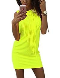 Dxlta Vestidos de fiesta de mujeres - Vestido sin mangas sin mangas del verano del color