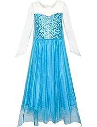 Mädchen Kleid Karikatur Kostüm Prinzessin Elsa Funkelnd Gr. 92-146