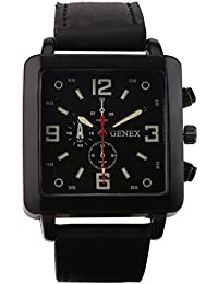 Genex Quartz Analog Black Dial Leather Strap Mens Watch-GNX-9004