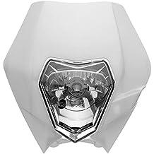 Alamor Faro Carenado Faro Cubierta Con Bombilla Para Ktm Sx Exc Xcf Sxf Smr Motocicleta-Blanco