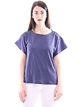 Seventy Blue Cotton T-Shirt with Lace Inserts, Mujer.