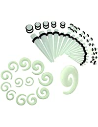 BodyJ4You Gauges Kit Spiral Tapers and Plugs 1.6mm-10mm Stretching Set - 54 Pieces