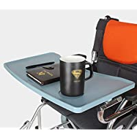Bandeja para sillas de ruedas extraíble mesa con portavasos, mesa de trabajo accesorio de movilidad para comer.