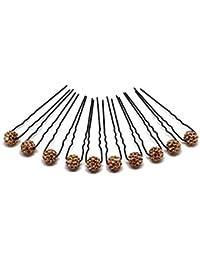 10 x horquilla de diamantes de imitación - Joyas para el cabello - Set negro - Beige