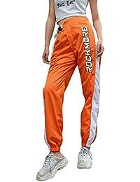 f503d29cf7 Mujer Pantalones Harajuku Hip Hop Streetwear Pantalones Estilo Callejero  Empalmados Pantalones Deportivos De Cintura Alta S