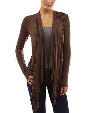 Las Mujeres Long Sleeve Cardigan Ligero Volantes Knit Sweater