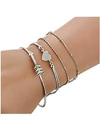 Freessom Kit De 4 Bracelet Femme Fille Ado Fantaisie Coeur Fleche Boule  Chaine Boheme Ethnique Reglable