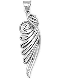 Oxidized Sterling Silver Ornate Angel Wing Pendant Measures 49mm X 12.5mm Charm