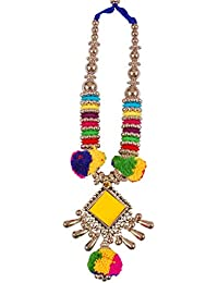 Yogi Hastkala Traditional Silver Oxidised Square Yellow Pendant Pom Pom Necklace With Earrings Set For Women And...