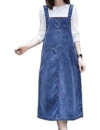 a49290b46b0a Sobrisah Women Girls Maxi Long Suspender Side Split Denim Skirt Overall  Denim Dungarees Dress Pinafore
