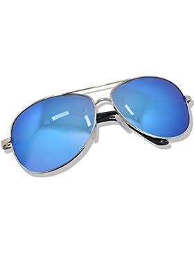 WHCREAT Hombre Polarizado Gafas de sol UV 400 Proteccion Spring Bisagra Marco de Metal Espejo Lente de Color