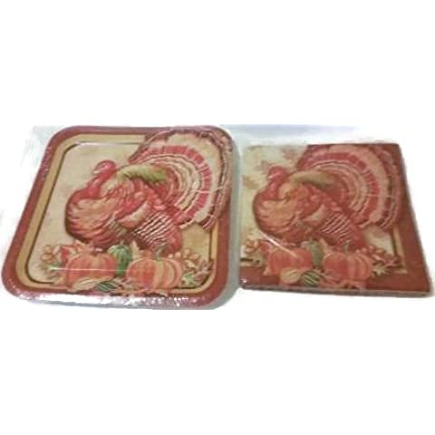 Turkey Design Harvest Party Banquet Paper Plates and Napkins Set by Walco