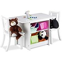 Preisvergleich für Relaxdays Kindersitzgruppe ALBUS mit Stauraum, 1 Tisch und 2 Stühle aus Holz, Kindertischgruppe für Jungen und Mädchen, weiß