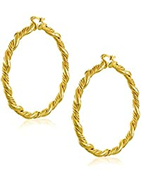 Bling Jewelry Twisted Cable Gold Plated Hoop Earrings