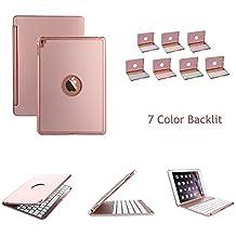 elecguru iPad Pro 9.7Funda con teclado, Slim aleación de aluminio Buttom Bluetooth Teclado Caso para con retroiluminación LED de 7colores para iPad Pro 9.7Inch oro rosa