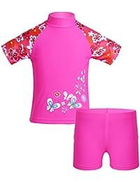 428d947db7a6 YiZYiF Enfant Fille Fleur Maillot Deux Pièces Maillot de Bain T-Shirt  Manche Courte Haut