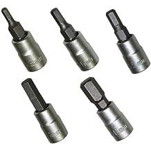 """AERZETIX: Juego de 5 destornillador bits Allen 3mm 4mm 5mm 6mm 8mm y soporte de bit 1/4"""" C2071C2072C2073C2074C2076"""