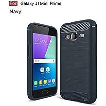 Funda Samsung Galaxy J1 Mini Prime,Regalo:Cristal Vidrio Templado Premium Para Samsung Galaxy J1 Mini Prime,[9H Dureza] [Alta Definicion 0.3mm] [2.5D Round Edge],JMGoodstore Azul Silicona Fundas para Samsung Galaxy J1 Mini Prime Carcasa Fibra de Carbono Funda Case skin Caso
