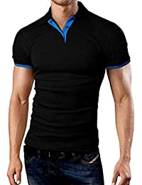Alician Men Classic Slim Shirt Short Sleeve Hit Color Casual Simple Tops