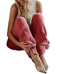 Juleya Pantalones de Pijama de Lana borrosa de Invierno para Mujer Pijamas cálidos Homewear Casual de Felpa Inferior Ropa de Dormir