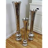 Michael Noll vaas bloemenvaas pot bokaalvaas decoratieve ovaas aluminium zilver S 69,5 cm M 80 cm L 99 cm