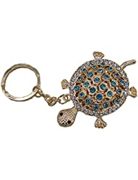 Insasta Elegant Turtle Gold With Sky Blue Colored Stones Detailing Unique Key Chain
